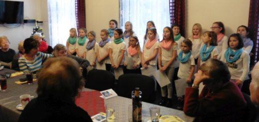 Sboreček zpíval na Vánoce důchodcům-učitelům.